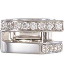 'antifer' diamond 18k white gold double row clip earring
