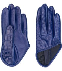 manokhi asymmetric hem embossed gloves - blue