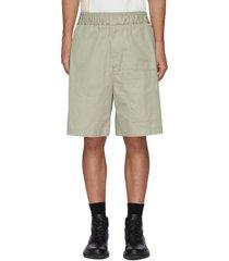 asymmetric pockets cotton gabardine shorts