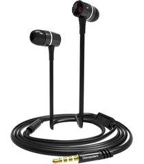 audífonos, eh350 3.5mm ataron con alambre del en-oído hifi con los auriculares universales del micrófono para los teléfonos elegantes para sony iphone samsung (negro)