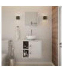conjunto para banheiro gabinete com cuba redonda r30 e espelheira soft 500 branco