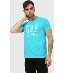 camiseta azul turquesa-blanco gap