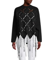 proenza schouler women's fringed laser-cut top - black - size s