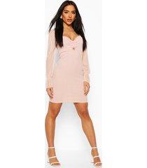 bandage mini dress with ring, blush