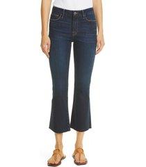 women's frame le crop mini raw hem bootcut jeans, size 27 - blue