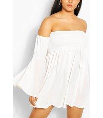 plus jurk met wijde mouwen en open schouders, wit