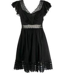 charo ruiz ibiza broderie-panelled poplin dress - black