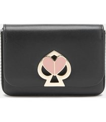kate spade new york women's nicola twistlock flap card case - black