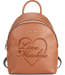 embroidered faux leather backpack
