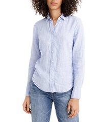 women's j.crew slim fit perfect piece-dyed irish linen shirt, size 4 - blue