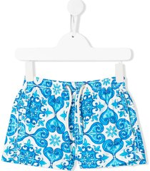 mc2 saint barth jean lighting tile-print swim shorts - blue