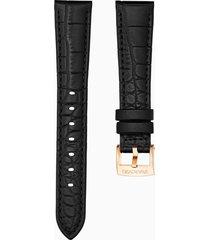 cinturino per orologio 17mm, nero, placcato color oro rosa