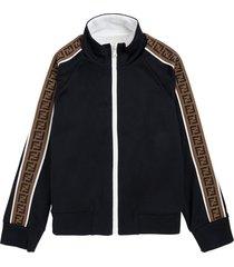 fendi cotton blend sweatshirt with ff side bands