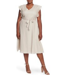 plus size women's cece flutter sleeve belted linen dress
