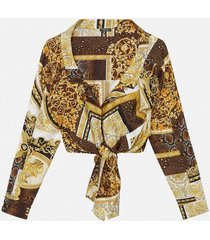 printed cropped tie front shirt