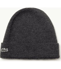 lacoste ribbed wool beanie |grey| rb3502-2wa