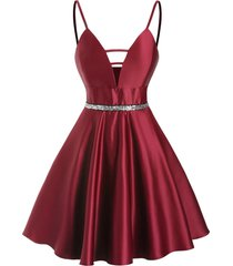 sequined ladder cut plunge party dress