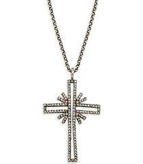 black rhodium-plated sterling silver & diamond cross pendant necklace