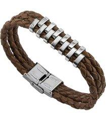 bracelete tudo joias de couro sintético marrom aço inox