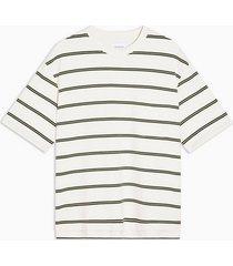 mens cream ecru and khaki boxy stripe t-shirt