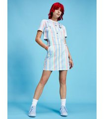 tommy hilfiger women's pastel stripe overall dress light powdery blue / stripe - l