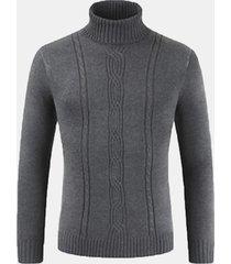 slip casual da uomo contorto modello magro collo alto magro classic maglione lavorato a maglia