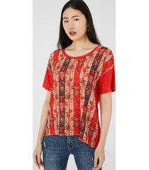 boho t-shirt friezes - red - xl