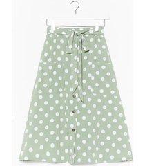 womens the midi ground polka dot skirt - mint