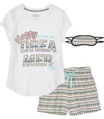 pigiama corto + mascherina per dormire (set 3 pezzi) (bianco) - bpc bonprix collection