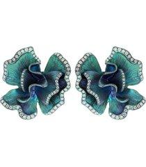 green titanium and diamond flower earrings