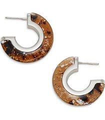 marbled resin small half hoop earrings