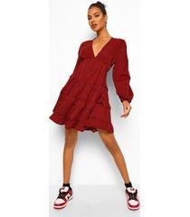 dogtooth skater jurk met open rug en franjezoom, red