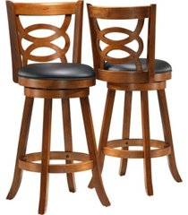 monarch specialties 2 piece leather look bar stool set