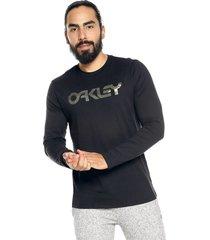 camiseta manga larga negra-verde  oakley