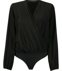 federica tosi wrap front bodysuit blouse - black