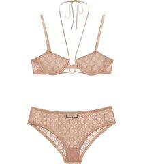 gucci gg tulle lingerie set - neutrals