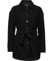 lima coat wollen jas lange jas zwart filippa k