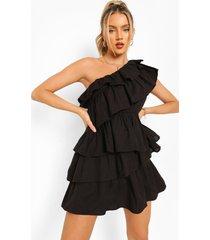 katoenen jurk met eén blote schouder en franjes, black