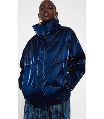 shiny padded short jacket - blue - l