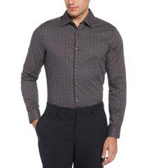 men's bold diagonal geo print long sleeve button-down stretch shirt