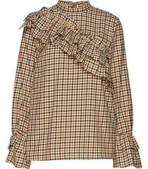 moya blouse lange mouwen multi/patroon baum und pferdgarten