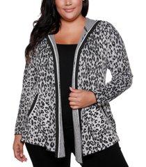 belldini copper label plus size women's leopard jacquard open hooded cardigan