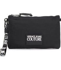 versace jeans couture logo plaque clutch bag - black