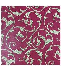 kit 2 rolos de papel de parede fwb lavável vermelho folhas bege