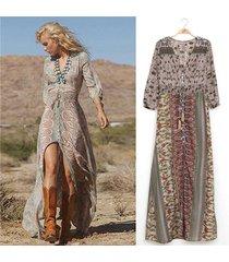 vintage women's bohemian floral printed dress split long maxi dress loose beach