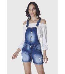 macacão jardineira shorts hno jeans feminino - feminino
