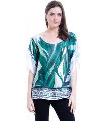 blusa 101 resort wear poncho cetim estampado folhas verde