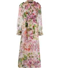 dolce & gabbana oversized floral print belted coat - pink