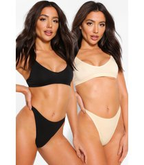 2 pack seamfree triangle bralette, multi