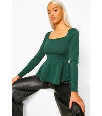 crêpe peplum blouse met vierkante hals, emerald